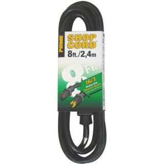 Prime Wire 8 Foot 16/3 SJTW Indoor and Outdoor Extension Cord, Black
