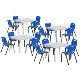 Lifetime Childrens Combo Four 29 Commercial Grade Tables and 16 Stack Chairs, Dragonfly Blue