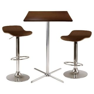 Winsome Kallie 3 Pc Square Pub Table with 2 Air Lift Wood Seat Stools