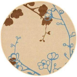 Safavieh Courtyard Natural Brown/Blue 6 ft. 7 in. x 6 ft. 7 in. Round Indoor/Outdoor Area Rug CY4038B 7R