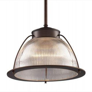 Elk Lighting 60014 1 Halophane 1 Light Pendant in Aged Bronze