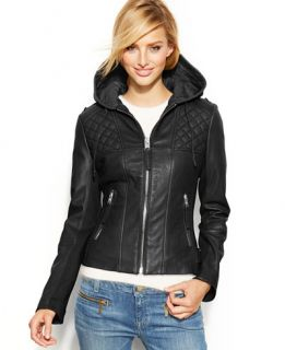MICHAEL Michael Kors Hooded Leather Motorcycle Jacket   Coats   Women