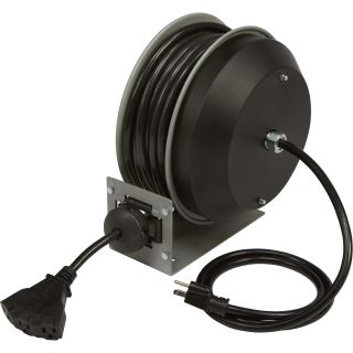 Strongway Retractable Cord Reel — 30-Ft., 12/3, Triple Tap  Cord Reels