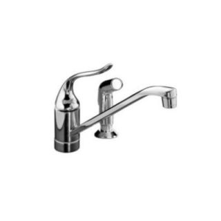 KOHLER Coralais Single Handle Standard Kitchen Faucet with Side Sprayer in Brushed Chrome K 15176 F G