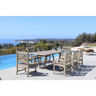 Renaissance Eco friendly 9 piece Outdoor Hand scraped Hardwood Dining