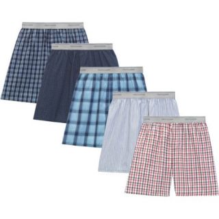 Fruit of the Loom Big Men's Soft Stretch Waistband Woven Boxers, 5 Pack
