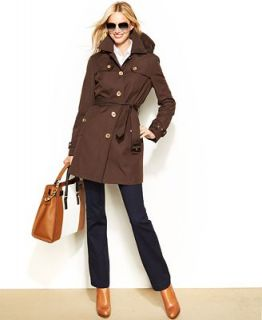 MICHAEL Michael Kors Hooded Belted Trench Coat   Coats   Women