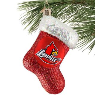 Louisville Cardinals Red Glass Stocking Ornament