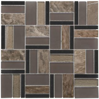 Elida Ceramica Glass Mosaic Essentials Dark Mosaic Glass/Metal/Stone Wall Tile (Common 12 in x 12 in; Actual 11.75 in x 11.75 in)