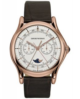 Emporio Armani Mens Swiss Moon Phase Dark Brown Leather Strap Watch