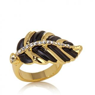 Roberto by RFM Crystal Goldtone and Black Enamel Leaf Ring   7888087