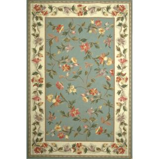 KAS Rugs Colonial Slate Blue / Ivory Floral Area Rug