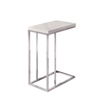 Monarch Specialties Glossy White Hollow Core and Chrome Metal Accent Table I 3008