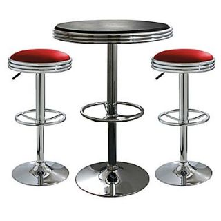 Buffalo Tools AmeriHome 3 Piece Adjustable Height Pub Table Set; Red Stools / Black Table
