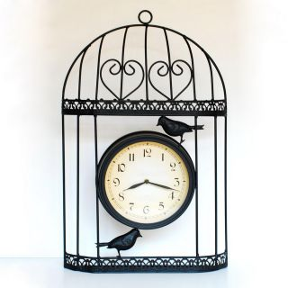 Ashton Sutton Standard/Arabic Numeral Bird Cage Wall Clock