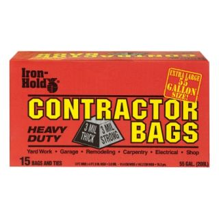 Iron Hold 55 Gal Contractor Trash Bags (618939)   15 Count   Trash Bags & Holders