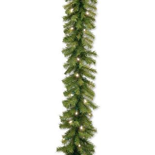 9 foot x 10 inch Norwood Fir Garland with 50 Concave Soft White LED Lights    National Tree Company