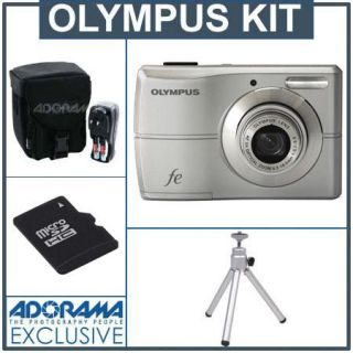 Olympus FE 26 12 MP Digital Camera Kit,   Silver   with 4GB Micro SDHC Memory Card, Table Top Tripod, Camera Case, 4 AA Ni MH Batteries with Charger IOMFE26SLKA
