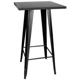 AmeriHome Loft Style Black Pub Table with Metal Top 801088