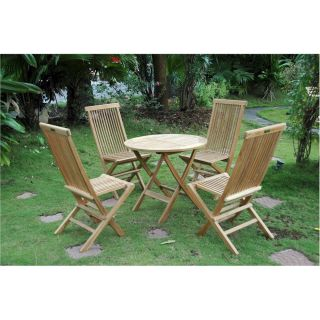 Anderson Teak 108B Windsor 31 Round Picnic Folding Table and 4 Classic Folding Chairs Set