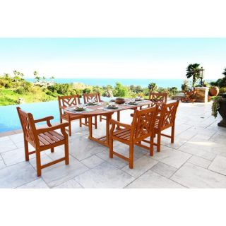 Malibu Eco friendly 9 piece Outdoor Hardwood Dining Set with Rectangle