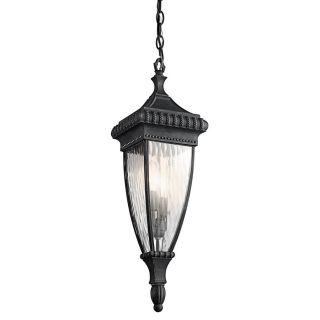 Kichler Lighting Venetian Rain 24.75 in Black with Gold Hardwired Outdoor Pendant Light