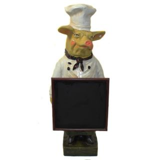 EC World Imports Deluxe French Chef Pig with Chalk Board / Blackboard