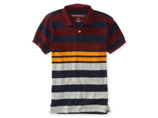 Aeropostale Mens Color Block Striped Rugby Polo Shirt 137 XS