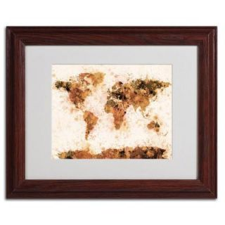 11 in. x 14 in. Bronze Paint Splash World Map Matted Framed Art MT0041 W1114MF