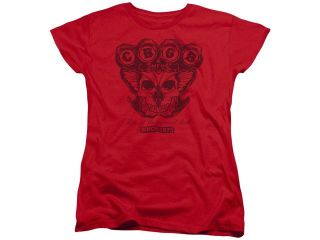 CBGB Moth Skull Womens Short Sleeve Shirt