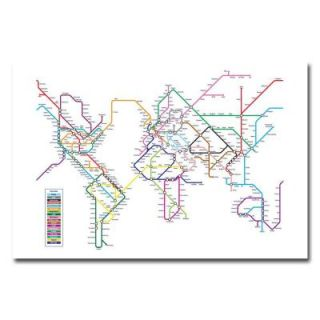 18 in. x 24 in. World Map   Subway Canvas Art MT0149 C1824GG