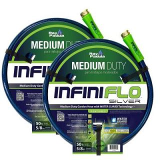 Ray Padula InfiniFlo Silver 5/8 in. Dia x 50 ft. Medium Duty Garden Hose (2 Pack) RP IFMD C