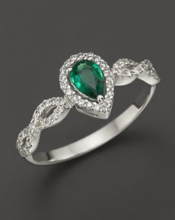 Emerald and Diamond Open Weave Pear Shaped Ring in 14K White Gold