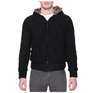 Mens Warm Faux Fur Zip Cable Cardigan Hoodie   16928598