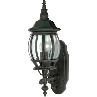 16.91 in H Textured Black Outdoor Wall Light