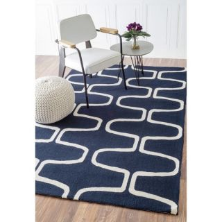Abstract Hand hooked Alexa Moroccan Trellis Wool Rug (76 x 96