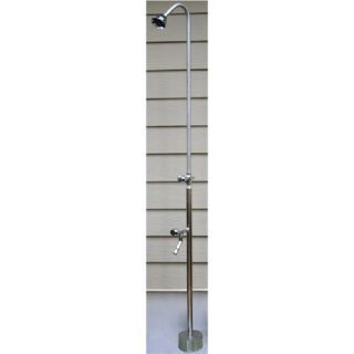 Outdoor Shower Company BS 1200 PCV ADA Pull Chain Free Standing Cold Water Shower with 6 Sunflower Shower Head and ADA Push Valve