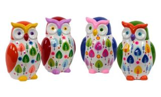 Urban Trends Ceramic Owl Bank   Set of 4   Assorted Colors
