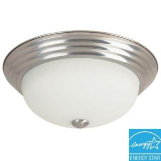 Hampton Bay Portland Collection 1 Light Brushed Nickel Fluorescent Ceiling Flushmount HBF1217P 35
