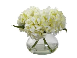 Nearly Natural Blooming Hydrangea With Vase In Cream