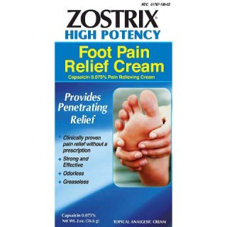 Zostrix Neuropathy Diabetic Foot Pain Relieving Cream   2.0 oz