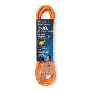POWER FIRST 10 ft. Indoor, Outdoor 125V Extension Cord, 13 Max. Amps, Orange   3EA97|3EA97