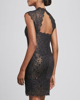 Nicole Miller Square Neck Open Back Lace Cocktail Dress