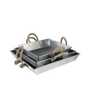 Hampton Bay 3 Piece Square Tray Set in Galvanized Metal with Rope Handles DS 17068