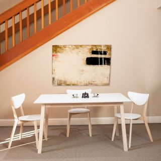 Euro Style Montana Dining Table   White/Natural   Kitchen & Dining