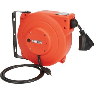 Ironton Retractable Cord Reel — 40ft., 12/3, Triple Tap  Cord Reels