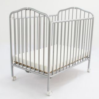 Baby Commercial Compact Folding Metal Crib   Pewter