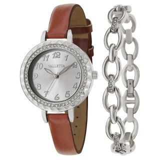Valletta Womens Crystal Stainless Steel Brown Synthetic Leather